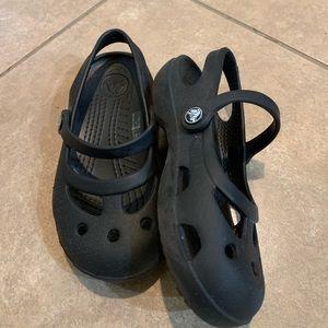 CROCS Shoes - Black little girls CROCS sandals size 9 like new